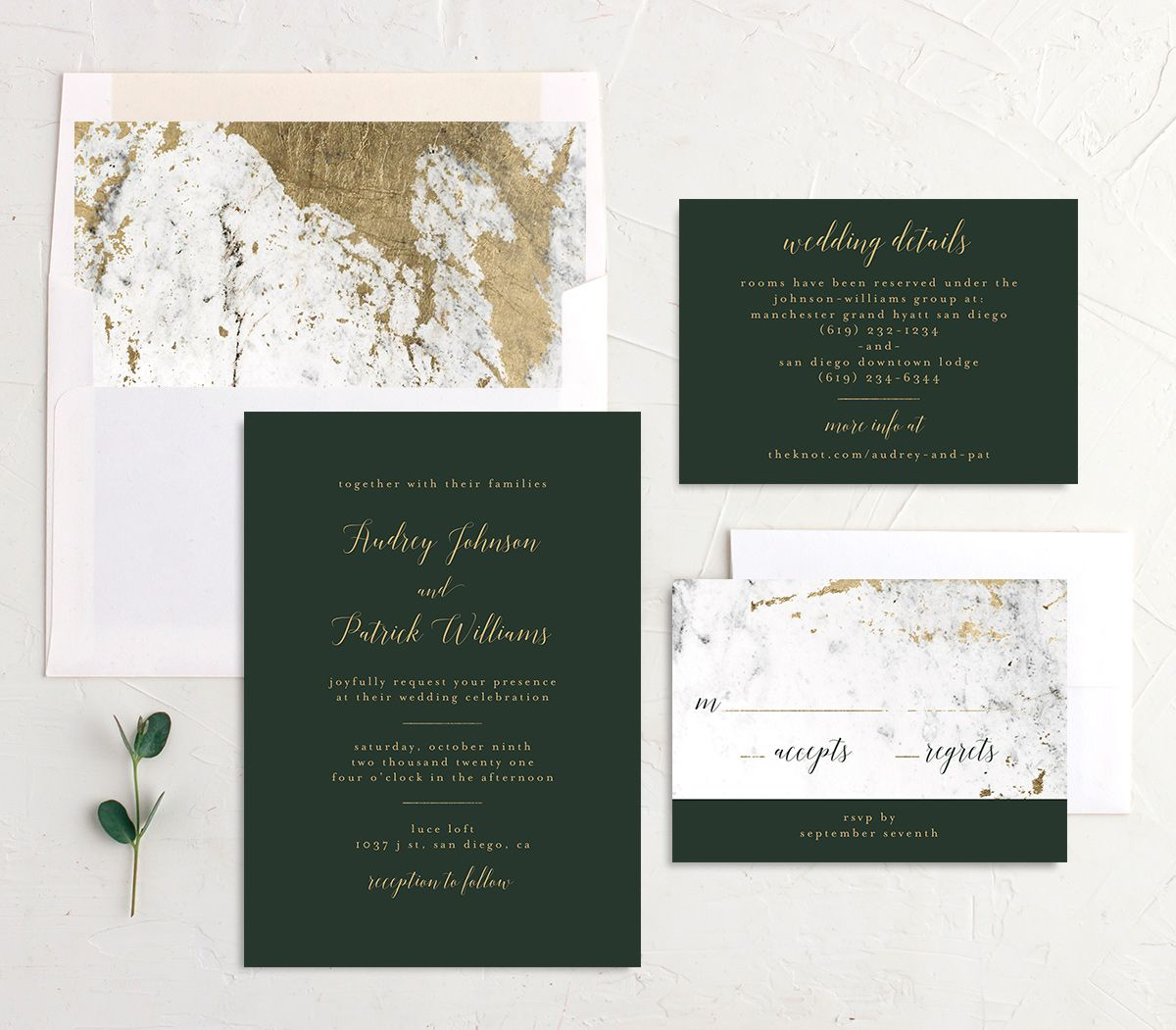 Marble and Gold Wedding Invitation Suite shown in green