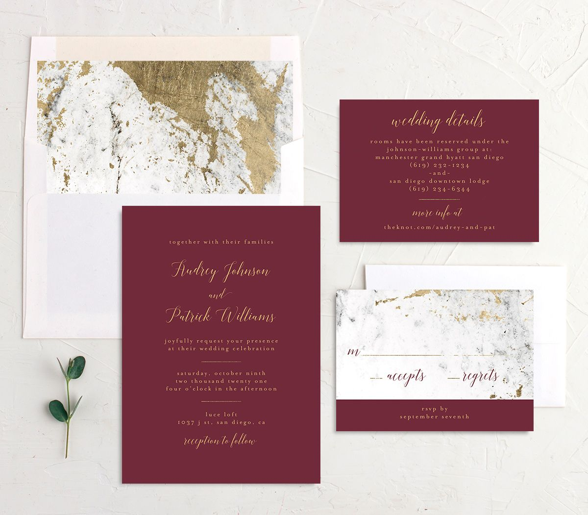 Marble and Gold Wedding Invitation Suite shown in red