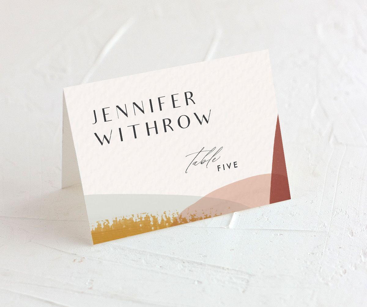 Abstract Watercolor place cards in marigold merch