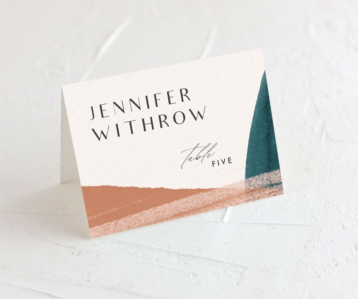 Abstract Watercolor place cards in teal merch