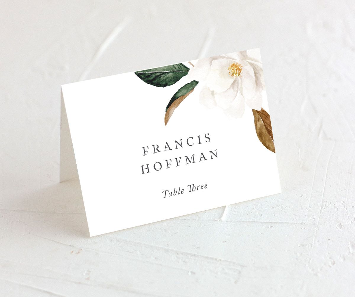 Painted magnolia place card all