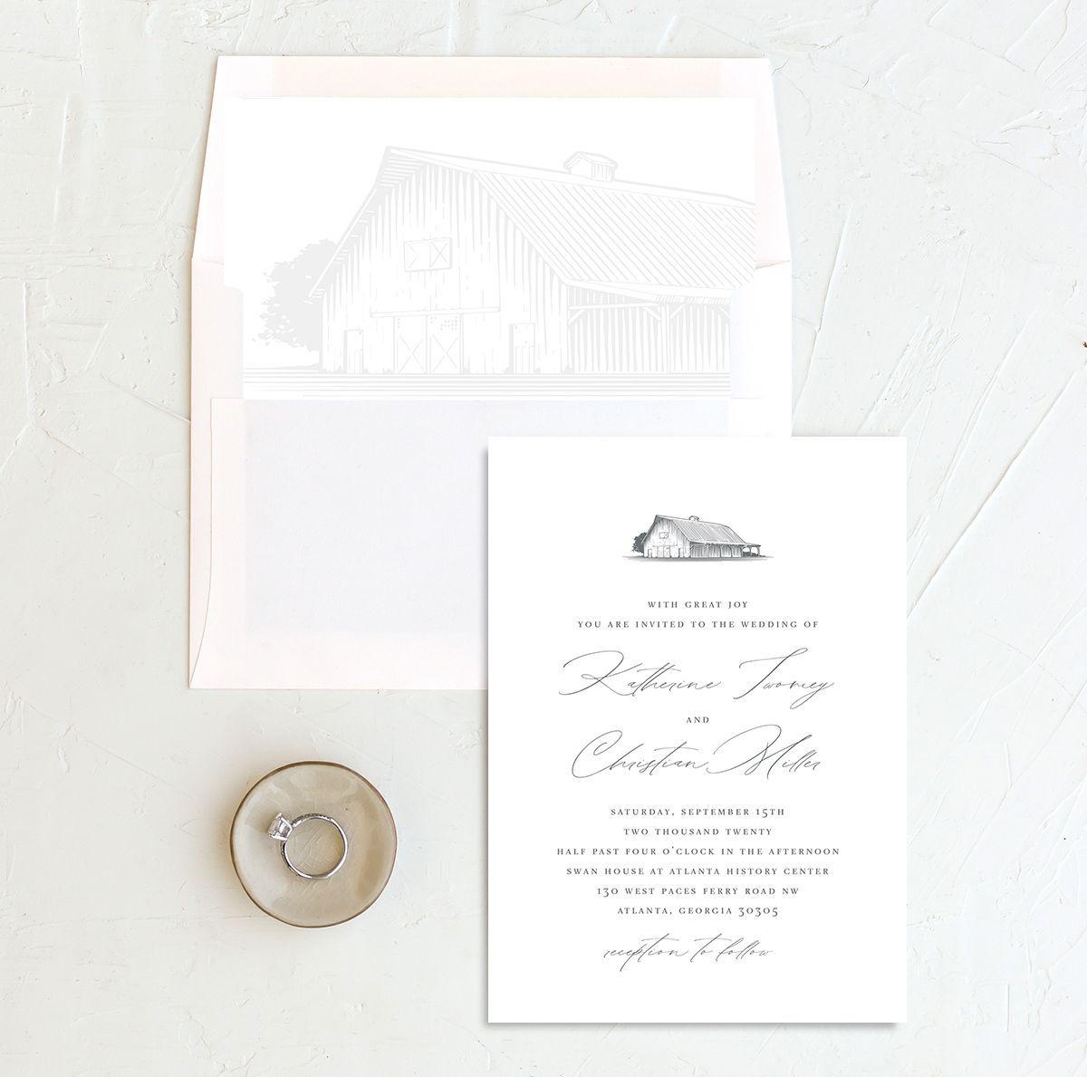 Classic Landscape Wedding Invitation with DIY liner in Barn