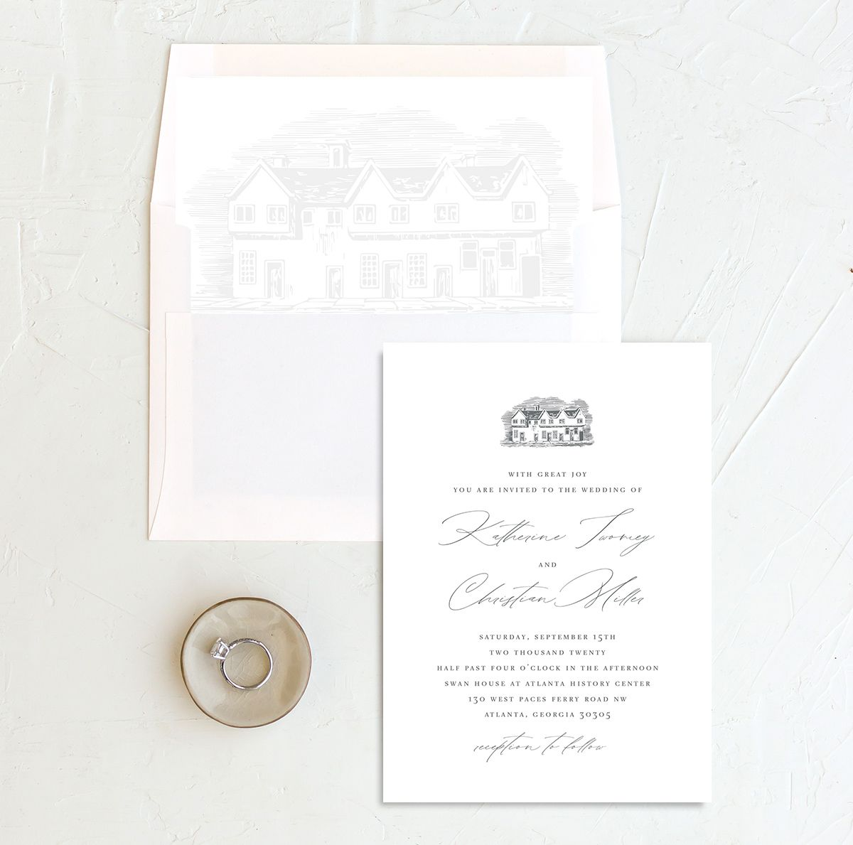 Classic Landscape Wedding Invitation with DIY liner in Estate