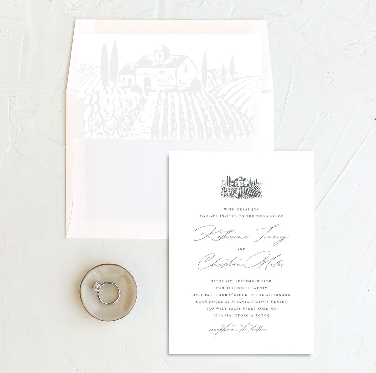 Classic Landscape Wedding Invitation with DIY liner in Vineyard
