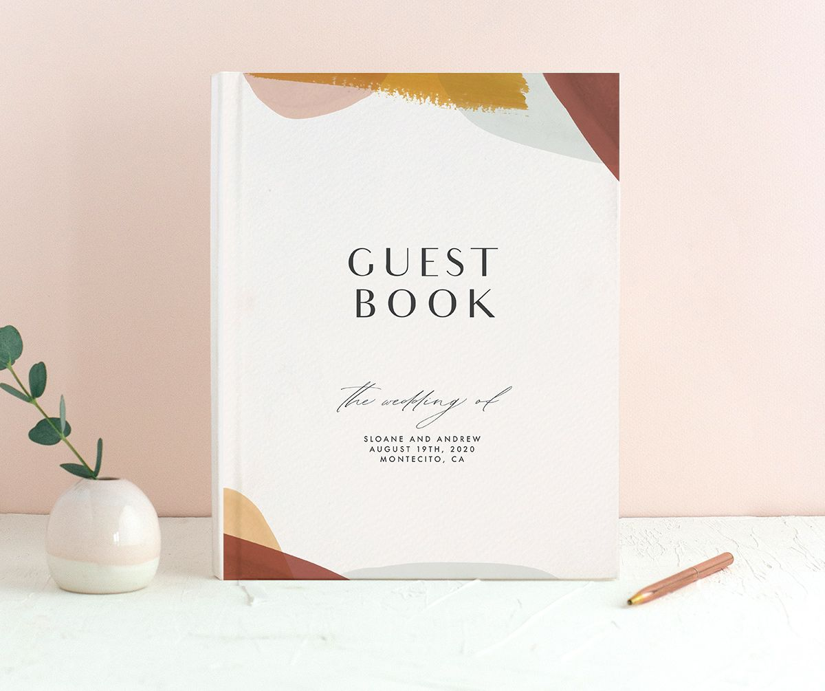 Abstract Watercolor wedding guest book in marigold merch