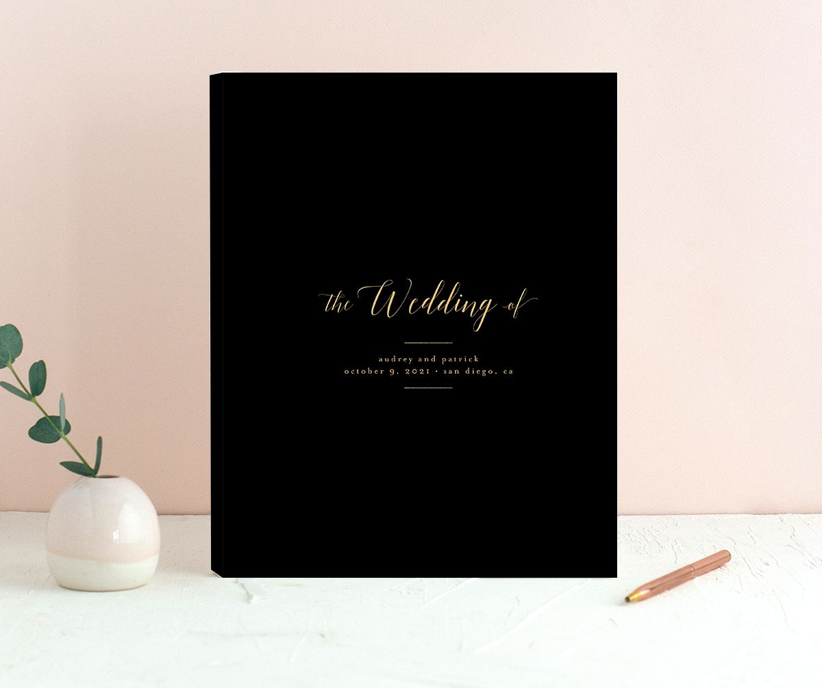 Marble and Gold guest book in black merch image