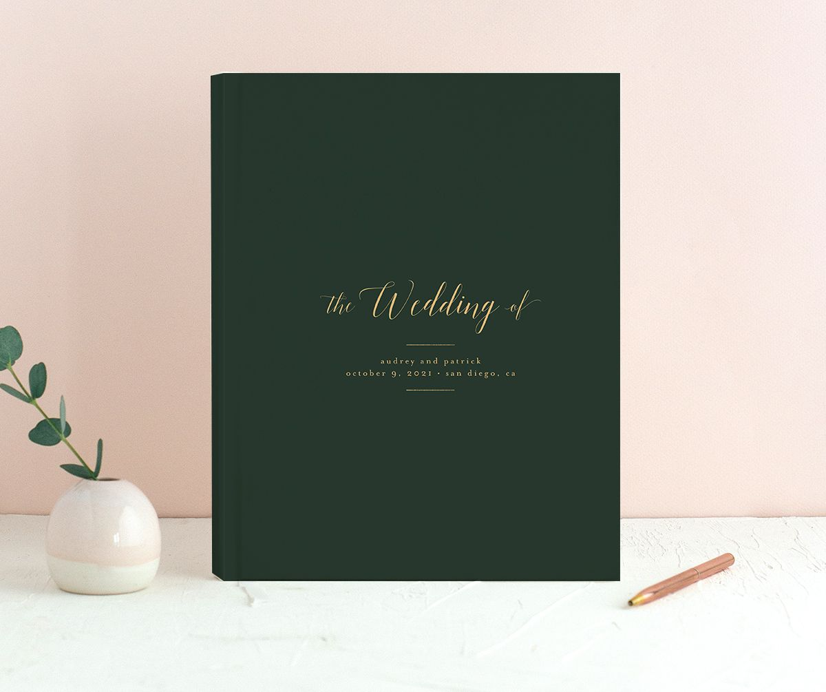 Marble and Gold guest book in green merch image