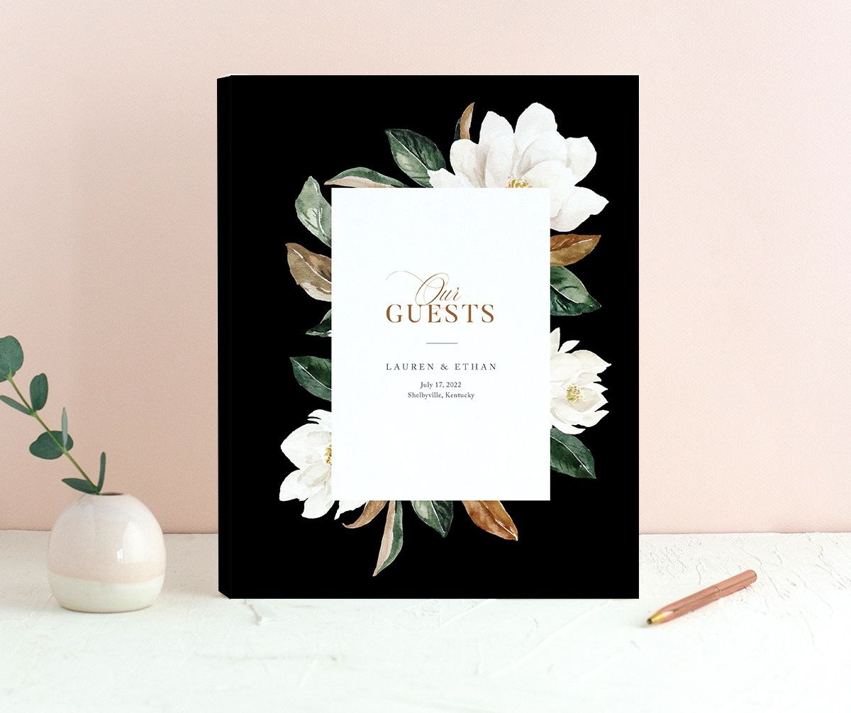 Painted magnolia wedding guest book in black