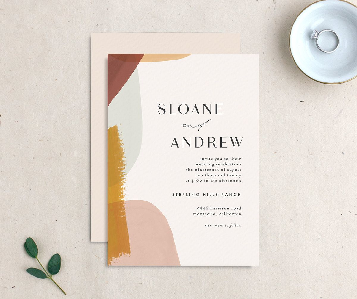 Abstract Watercolor Wedding Invitation Front and Back in Gold
