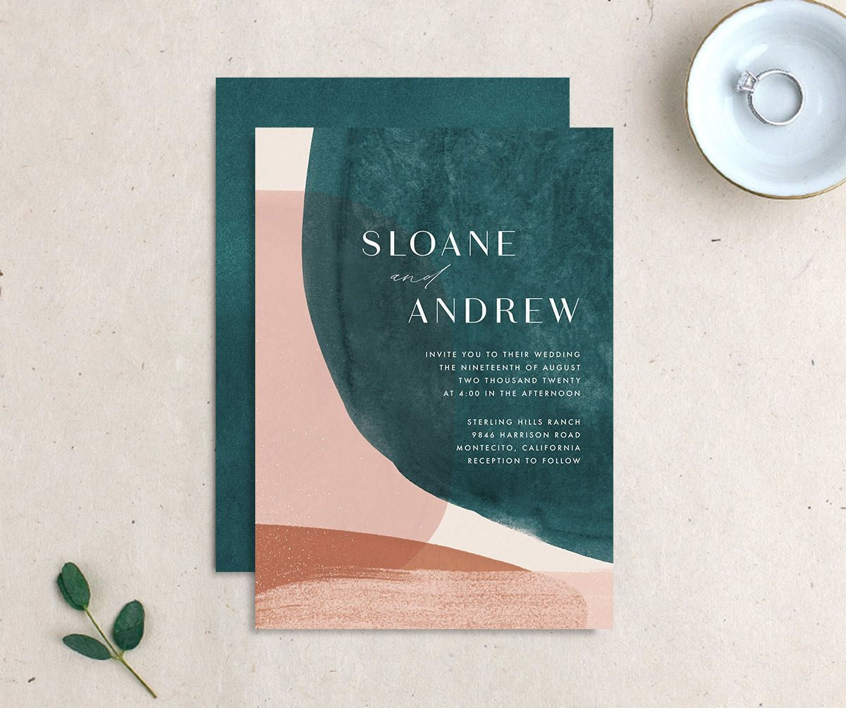 Abstract Watercolor Wedding Invitation Front and Back in Teal