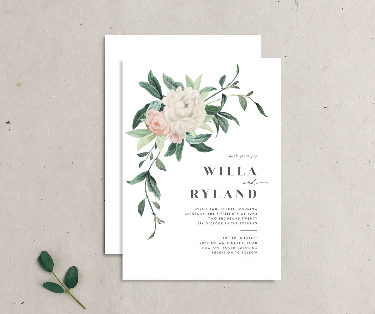 Botanica wedding invitation front and back merch