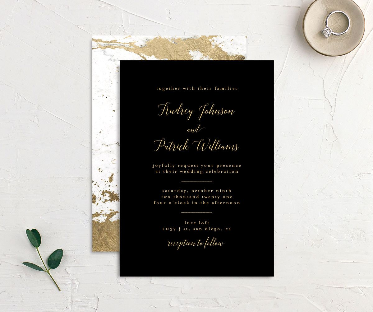 Marble and Gold Wedding Invitation front & back in black