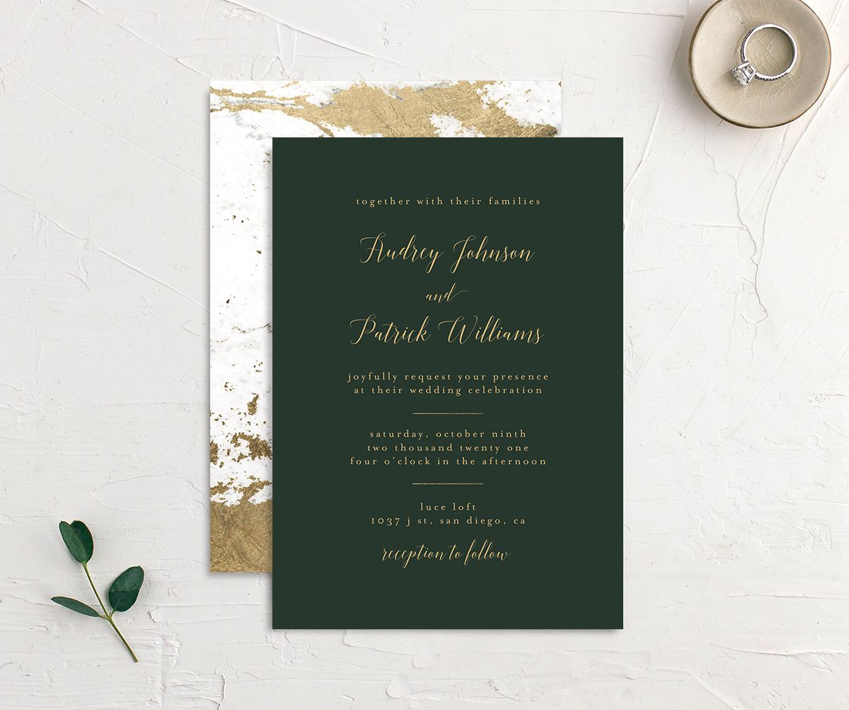 Marble and Gold Wedding Invitation front & back in green