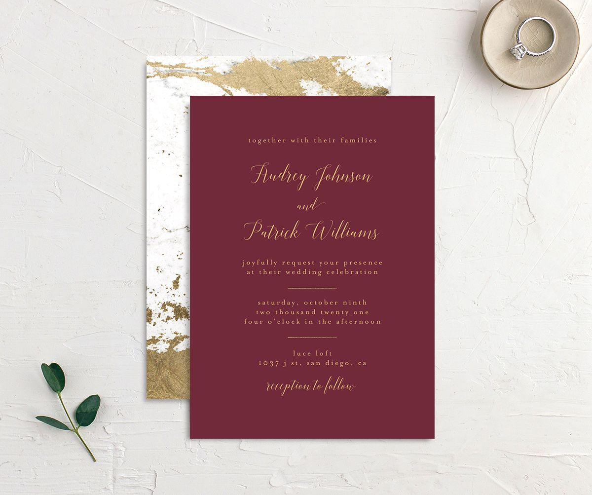 Marble and Gold Wedding Invitation front & back in red