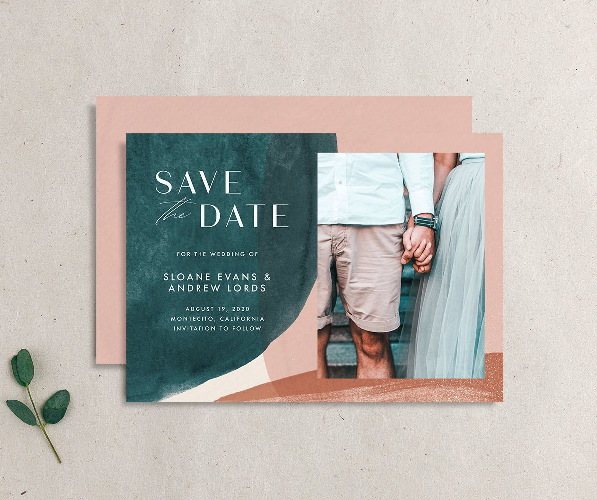 Abstract Watercolor save the date photo card front & back in teal