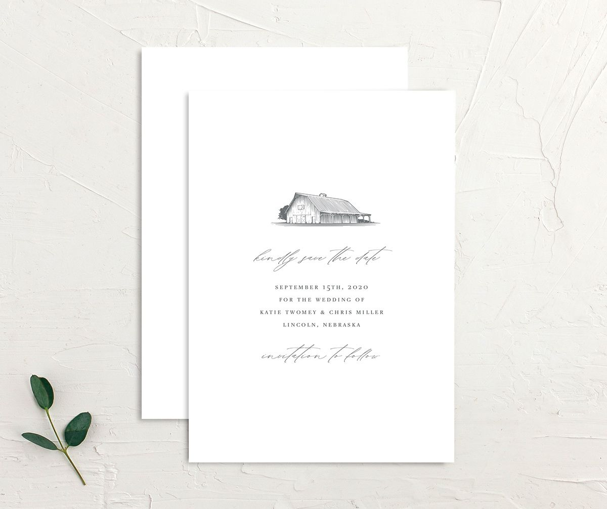 Classic Landscape Save the Dates front & back in Barn
