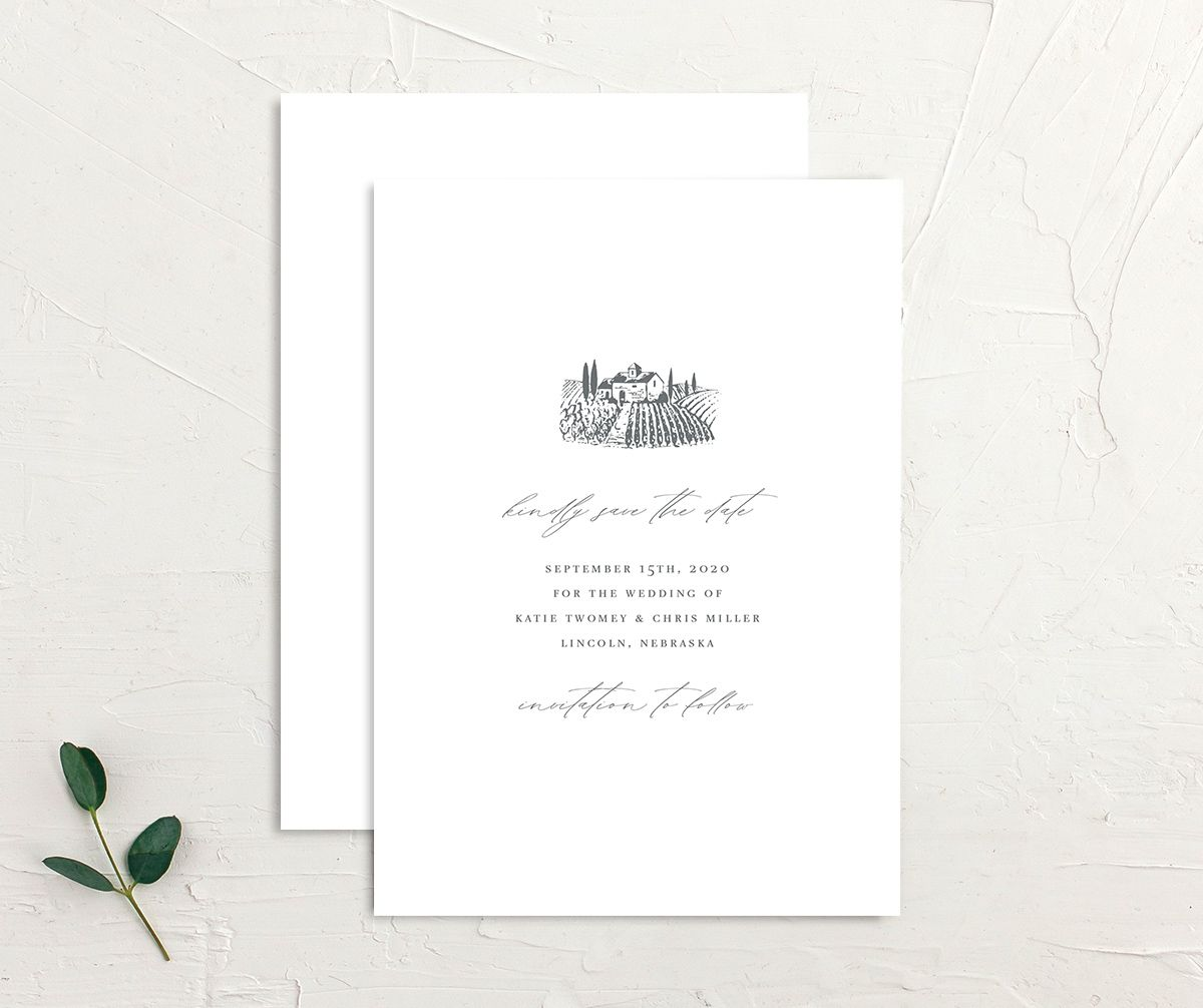 Classic Landscape Save the Dates front & back in Vineyard