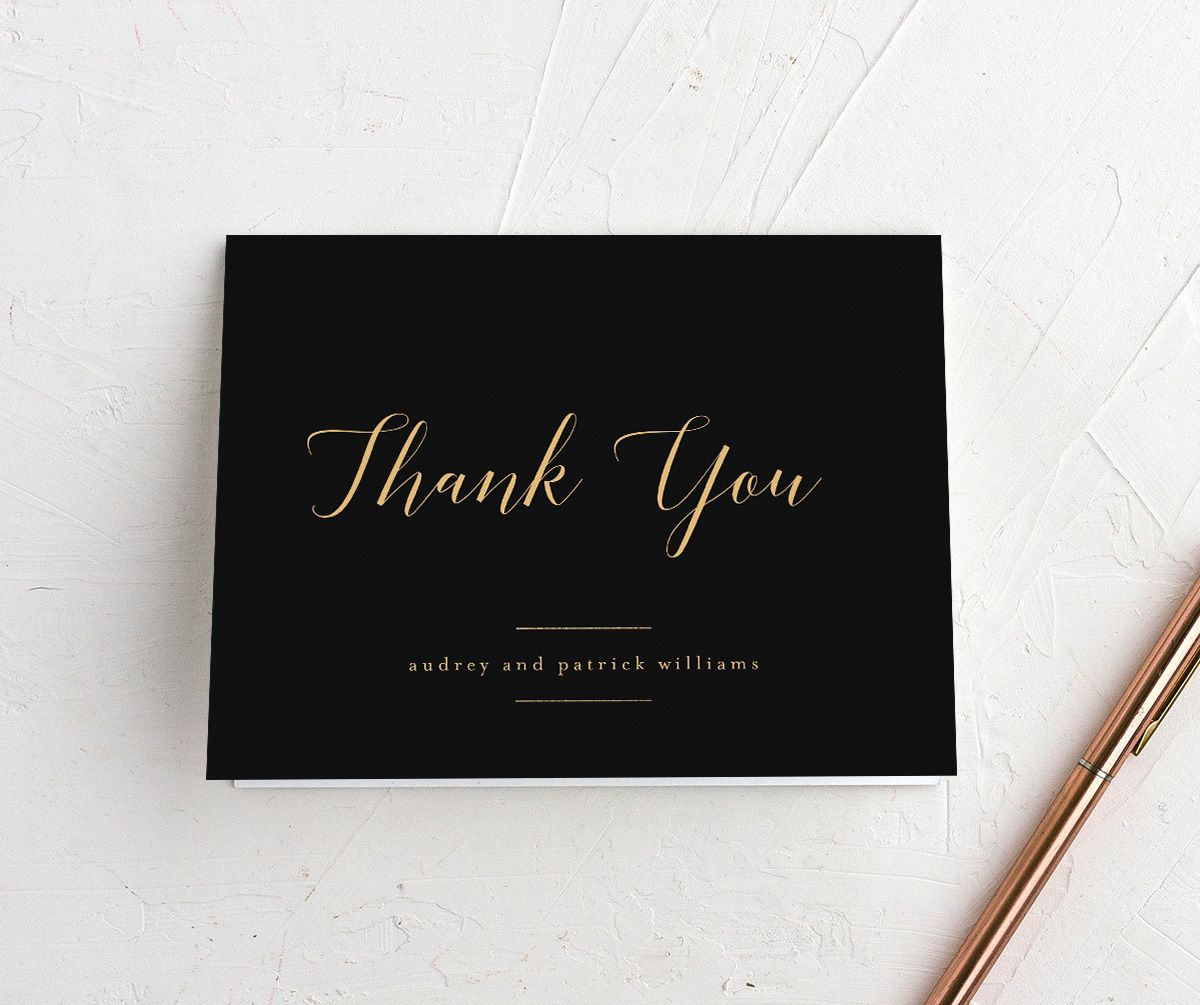 Marble and Gold Folded Thank You card in black