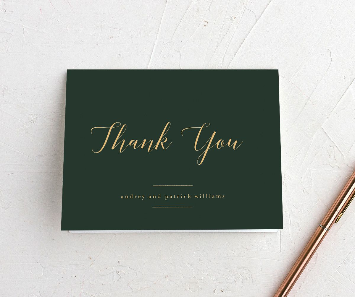 Marble and Gold Folded Thank You card in green