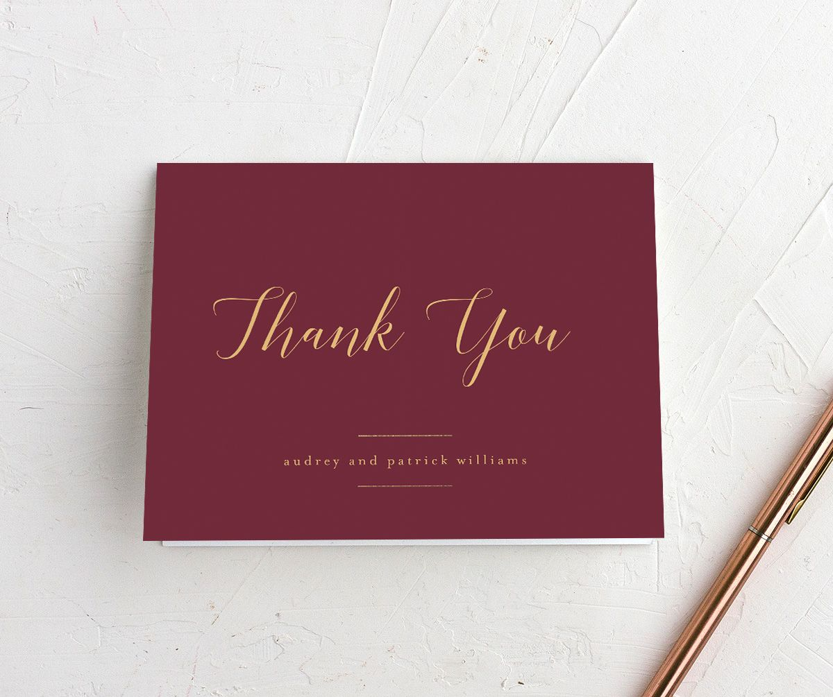 Marble and Gold Folded Thank You card in red