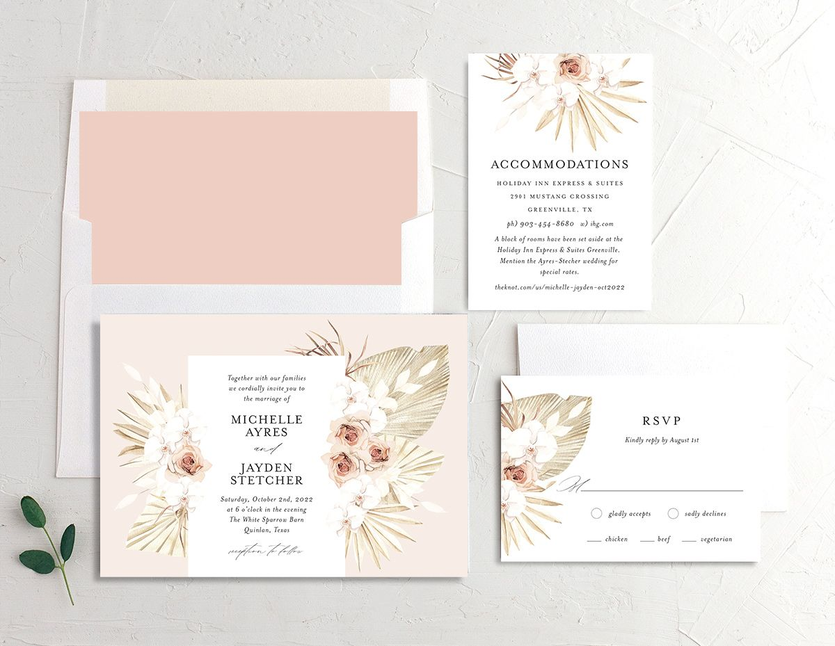 Neutral Bohemian wedding set in pink shown with DIY envelope liner