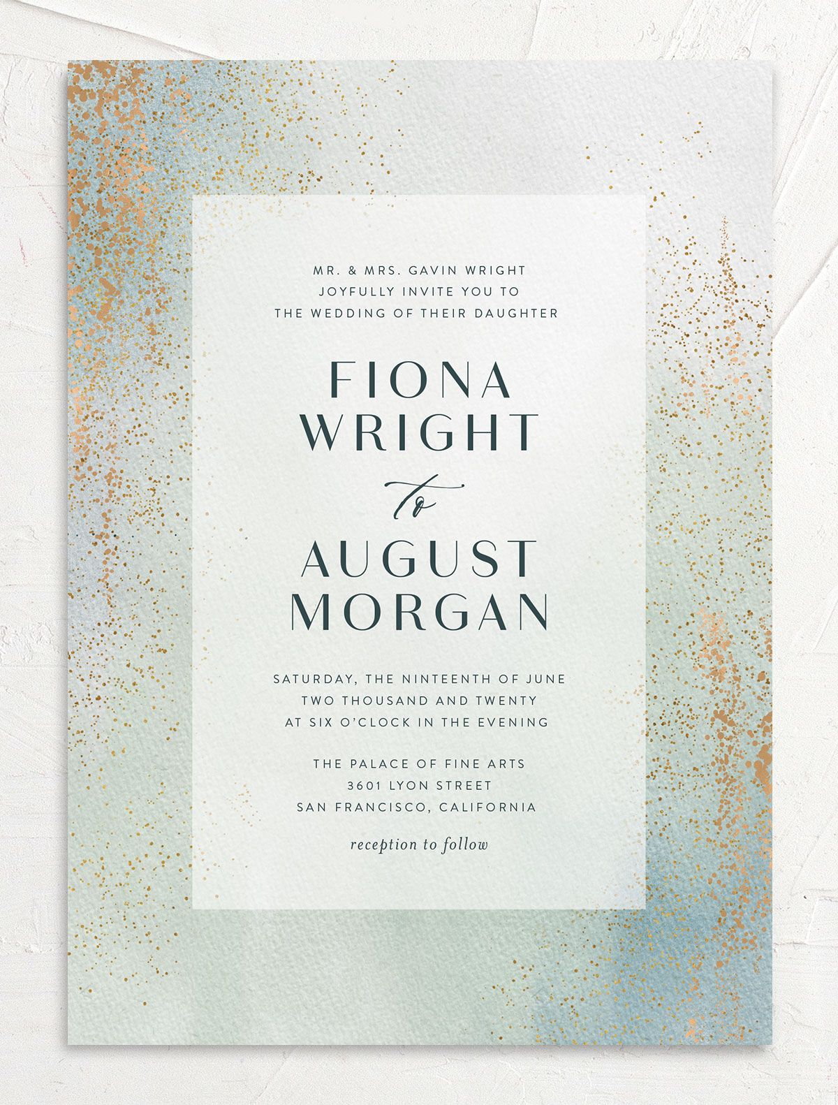 Awash wedding invitation front green