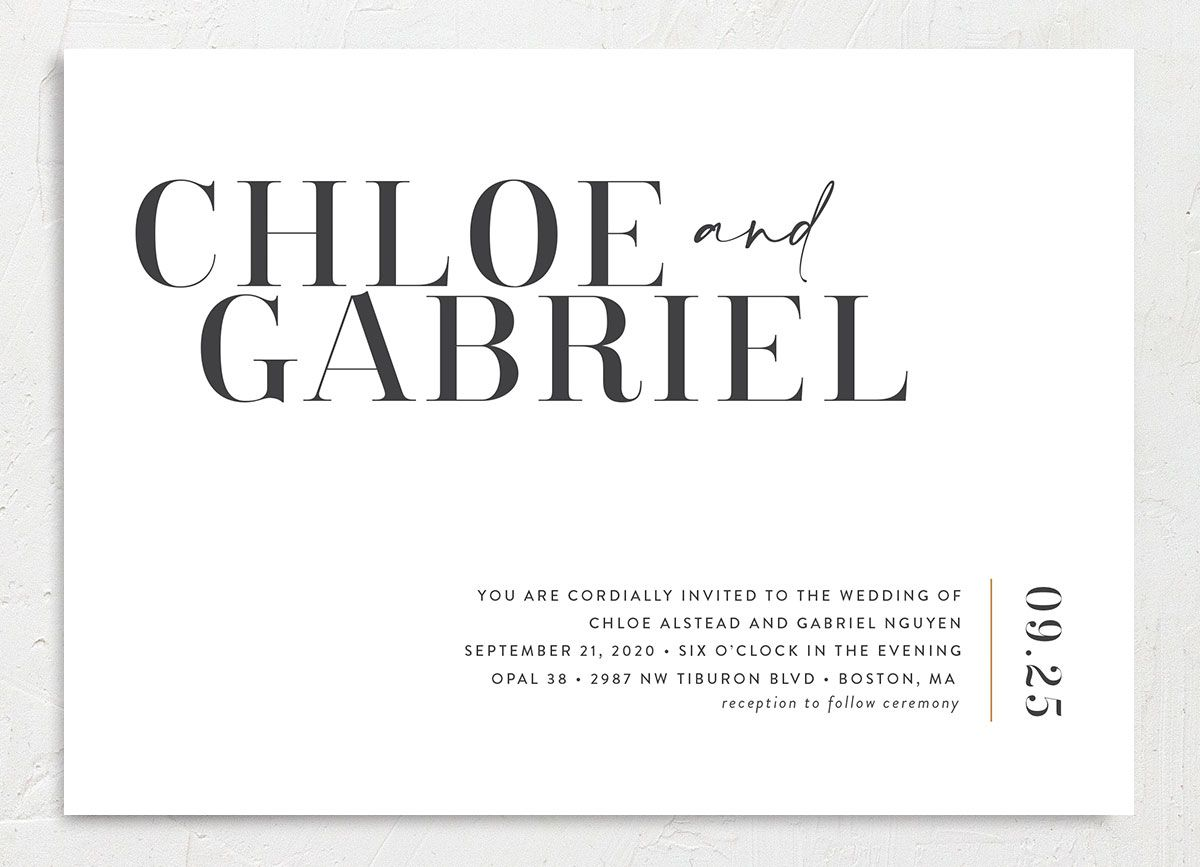 Minimal Chic wedding invitation closeup back in white front
