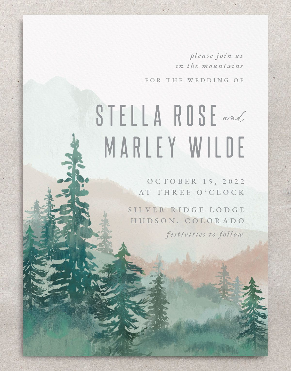 Painted Mountains wedding invite closeup in green front