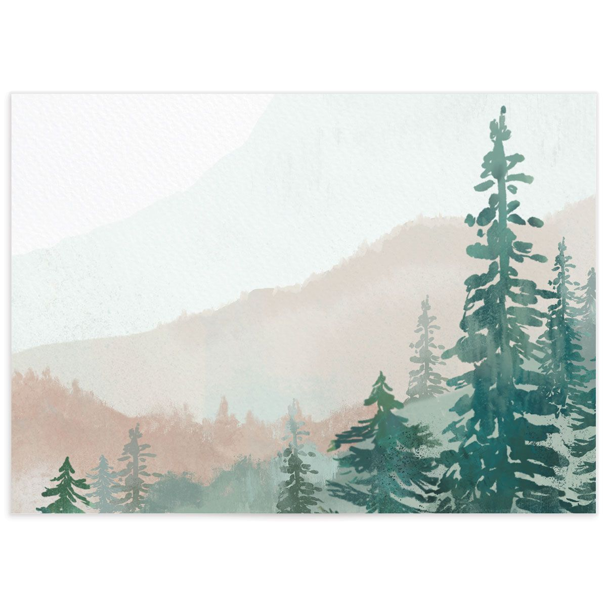 painted mountains wedding response card back in green