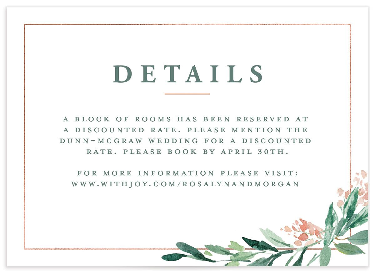 gilded botanical wedding enclosure card in green