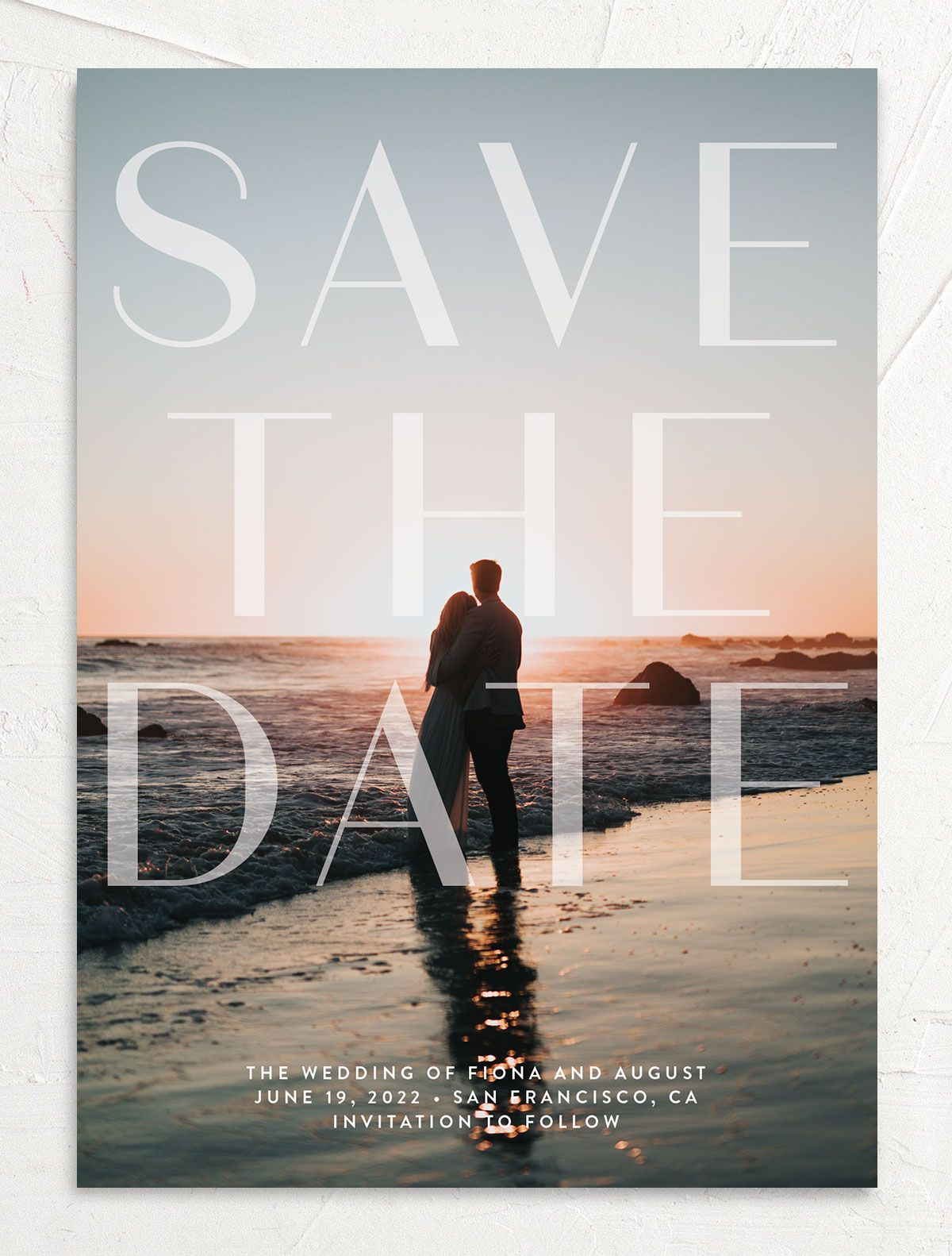 Awash wedding save the date front pink