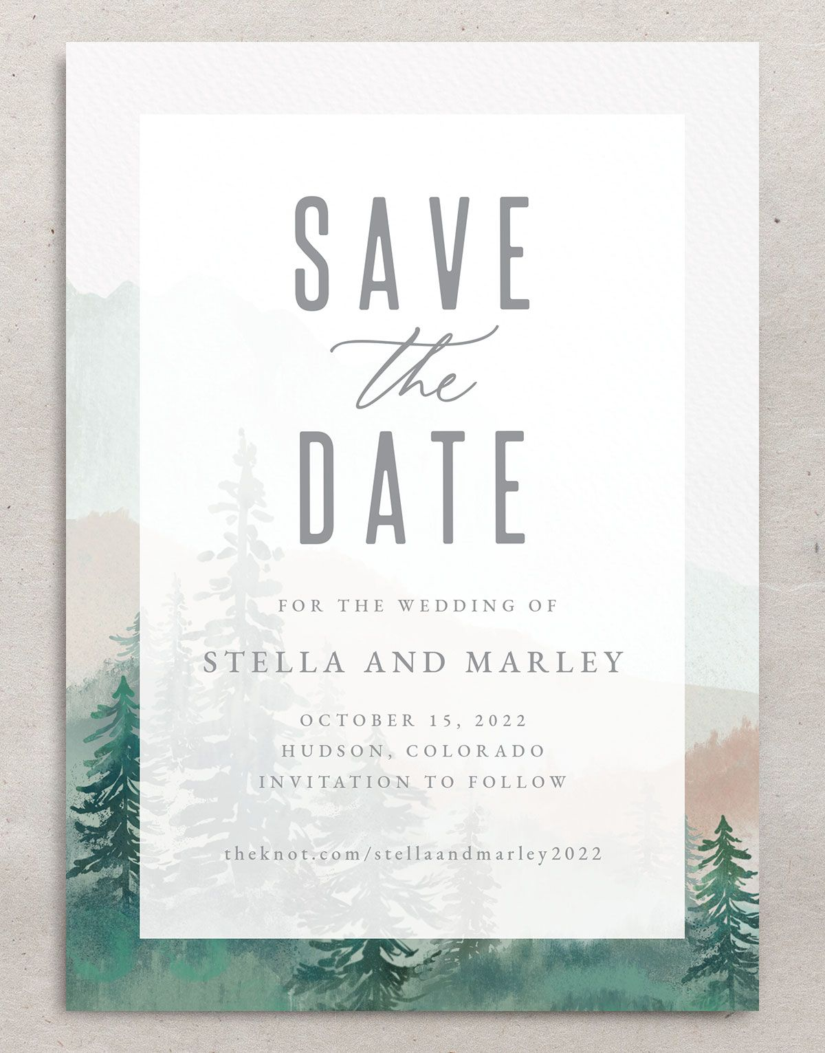 Painted Mountains save the date closeup in green back