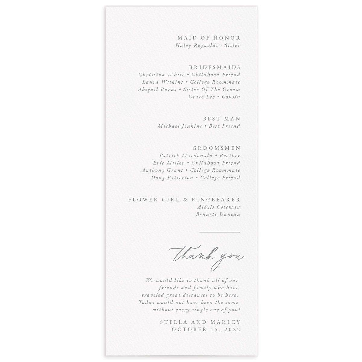 Painted Mountains Wedding Program back