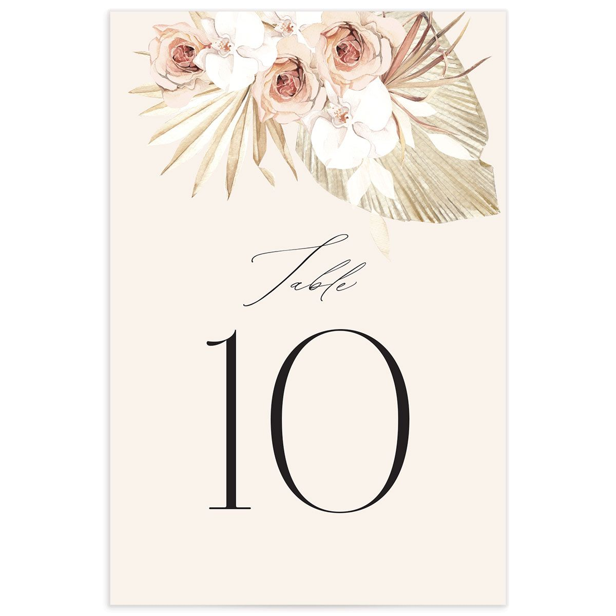 Neutral Bohemian Table Number front closeup in pink