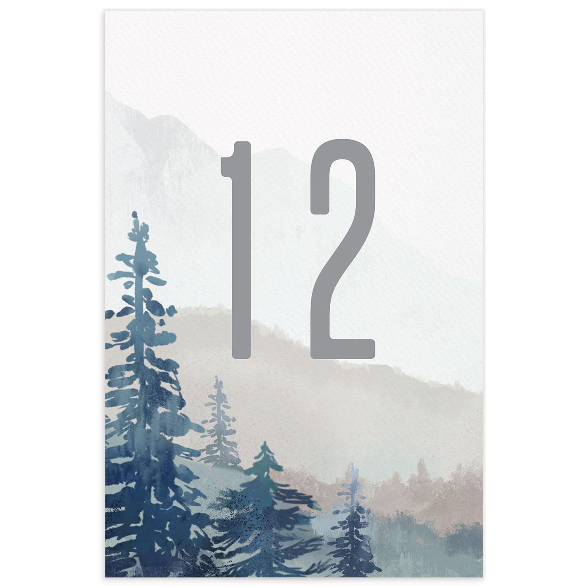 Painted Mountains wedding table number front in blue