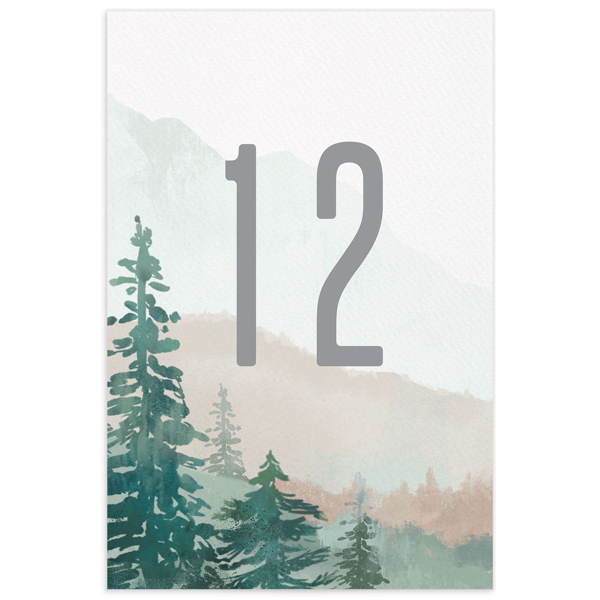 painted mountains wedding table number back in green