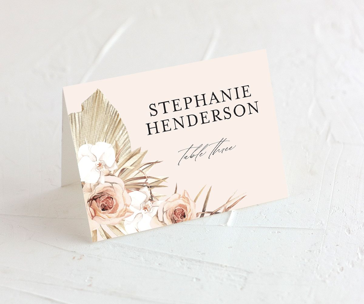 Neutral Bohemian Place card closeup in pink