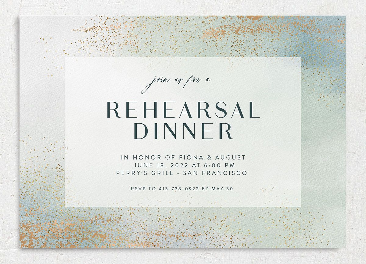 Awash rehearsal dinner invitation front green