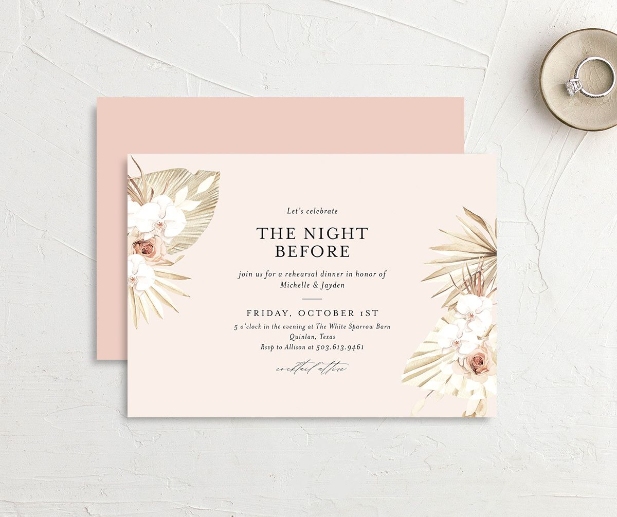 Neutral Bohemian Rehearsal Invite front & back in pink