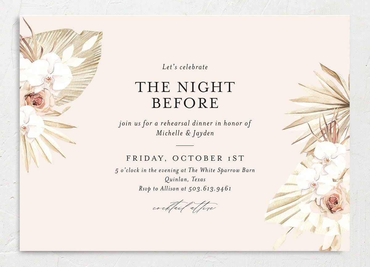 Neutral Bohemian Rehearsal Dinner invite front closeup in pink