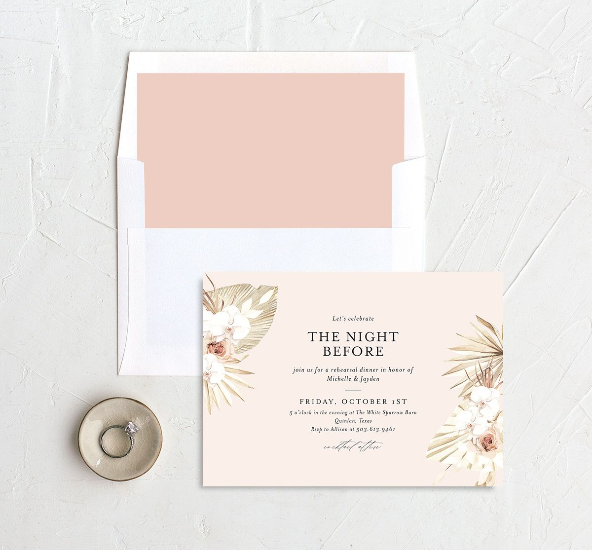 Neutral Bohemian Rehearsal Dinner invite shown with liner in pink