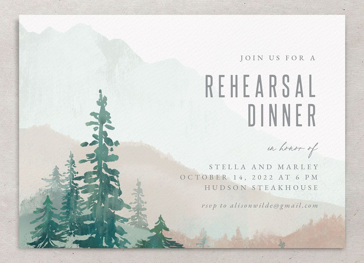 Painted Mountains rehearsal dinner front in green