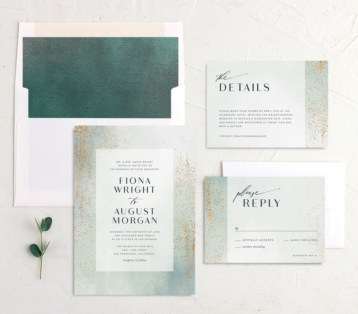 Awash wedding invitation suite green