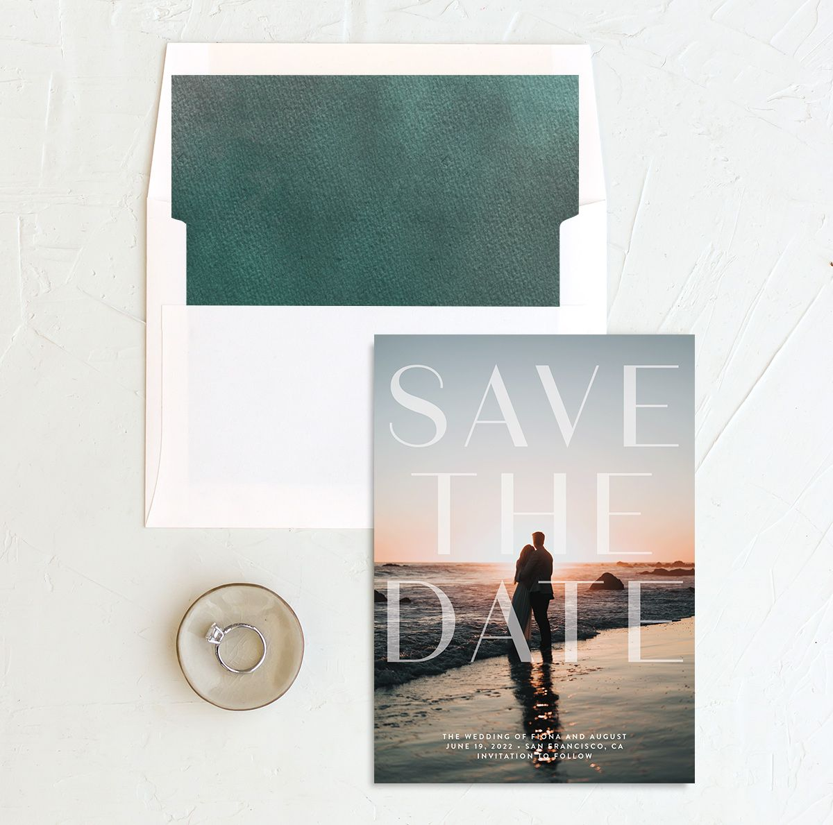 Awash save the date with liner green