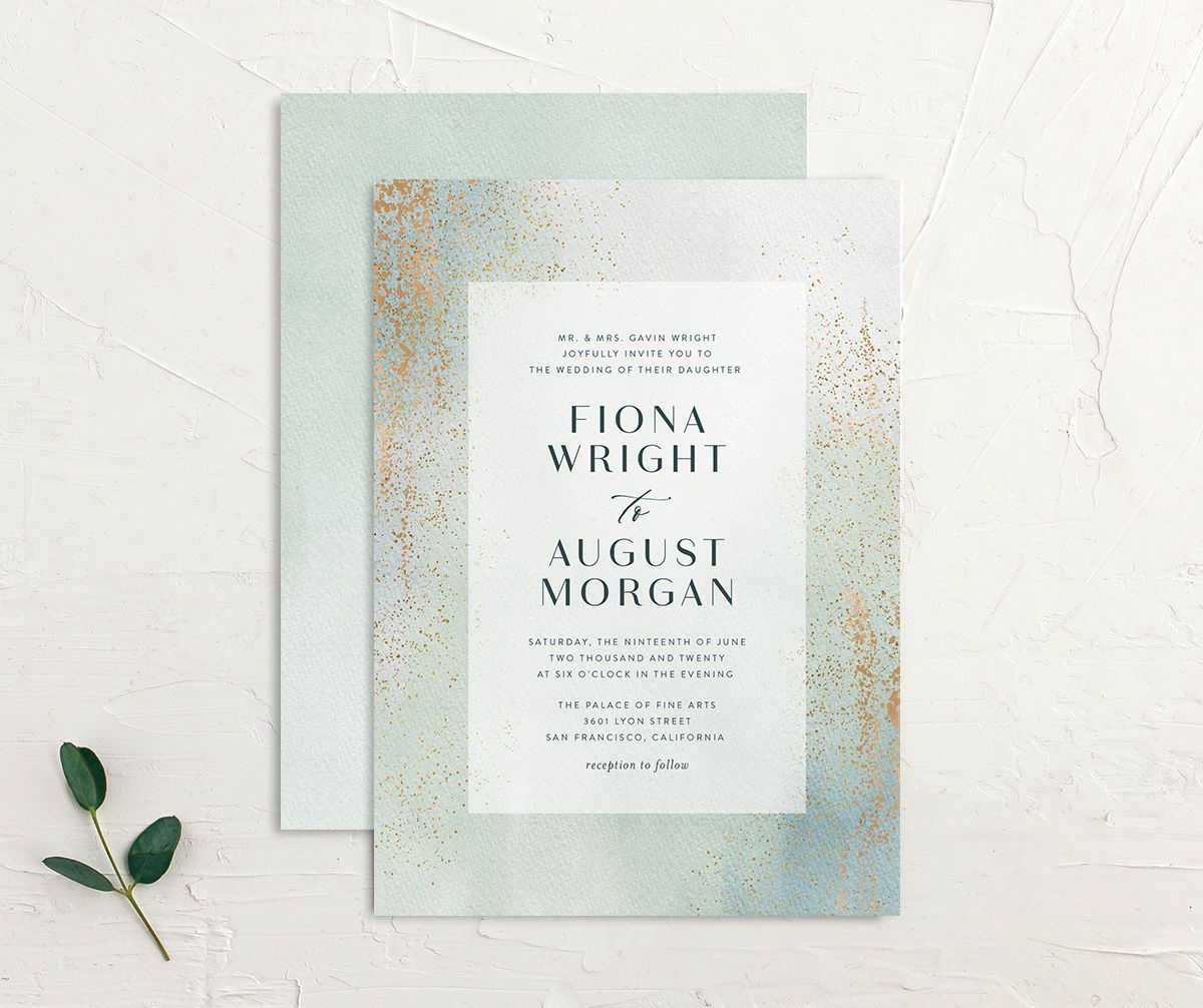 Awash wedding invitation front and back green