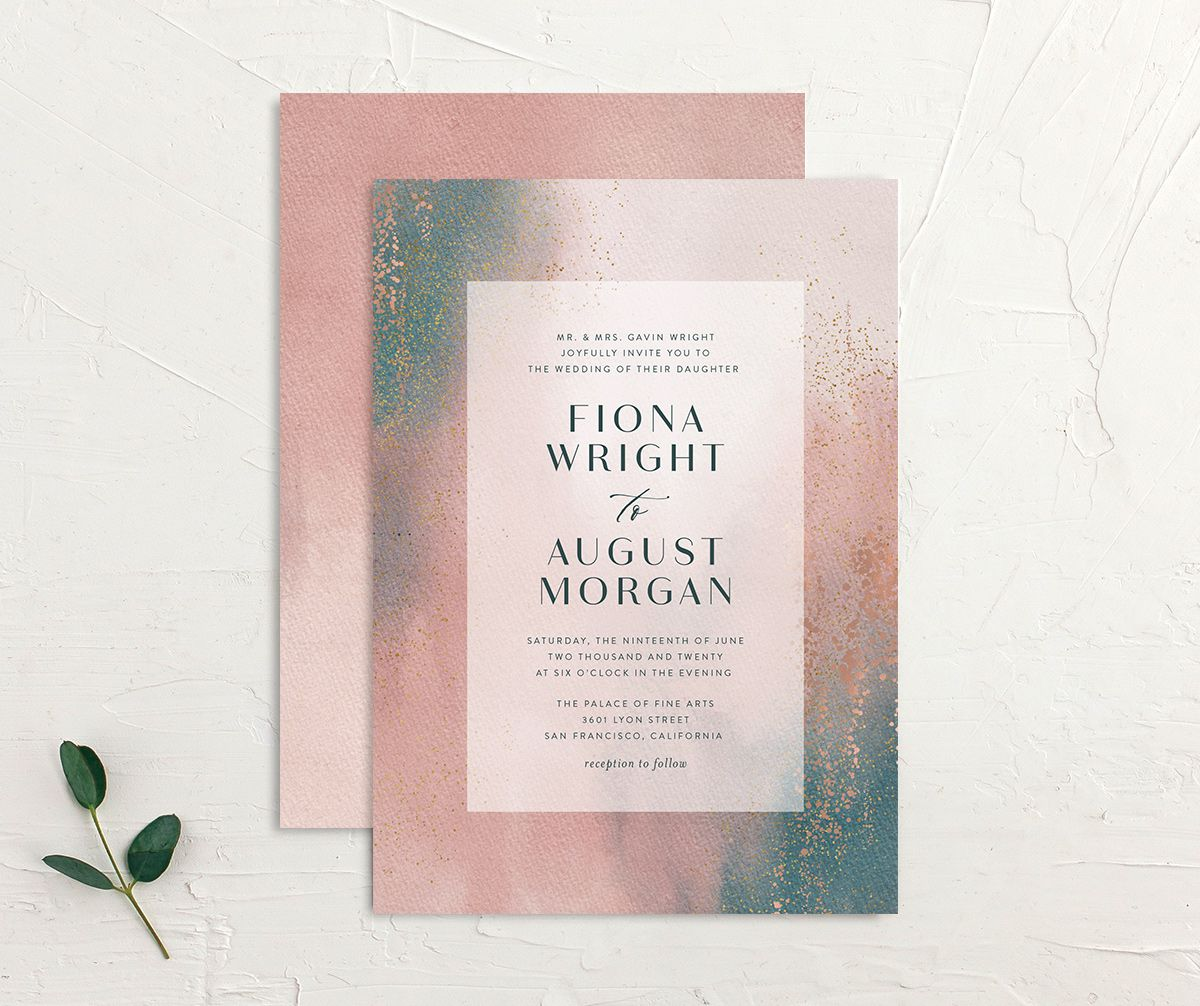 Awash wedding invitation front and back pink