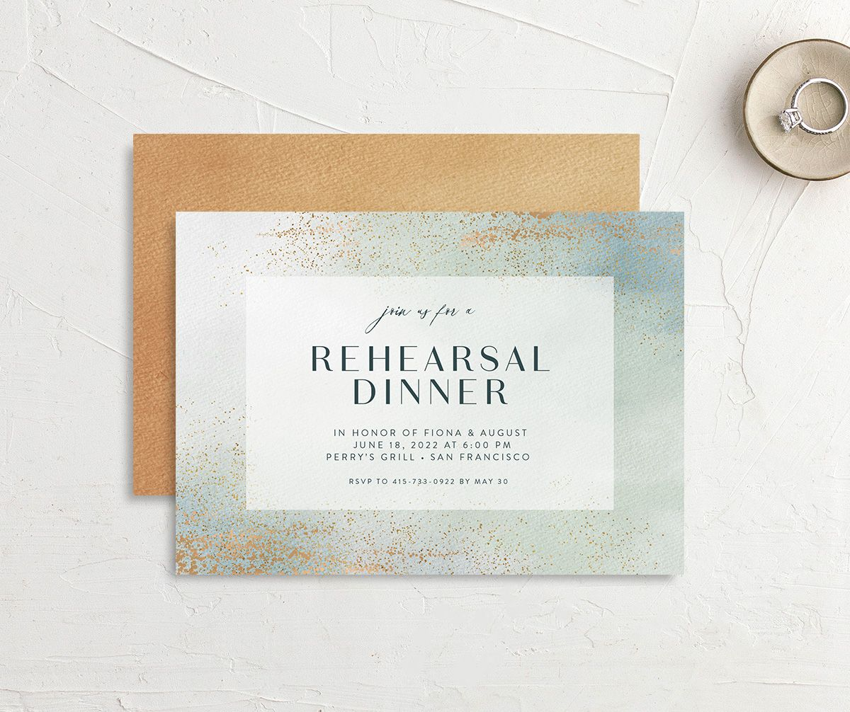 Awash rehearsal dinner invitation front and back green