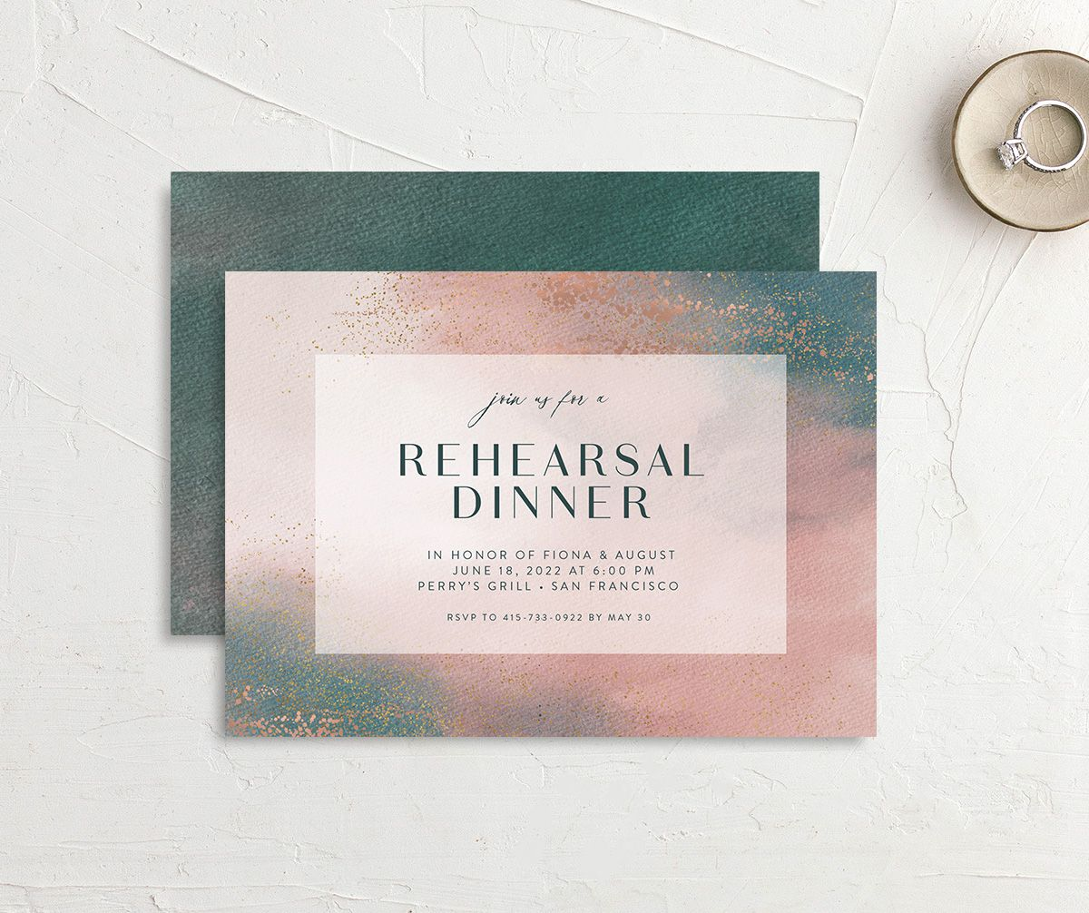 Awash rehearsal dinner invitation front and back pink