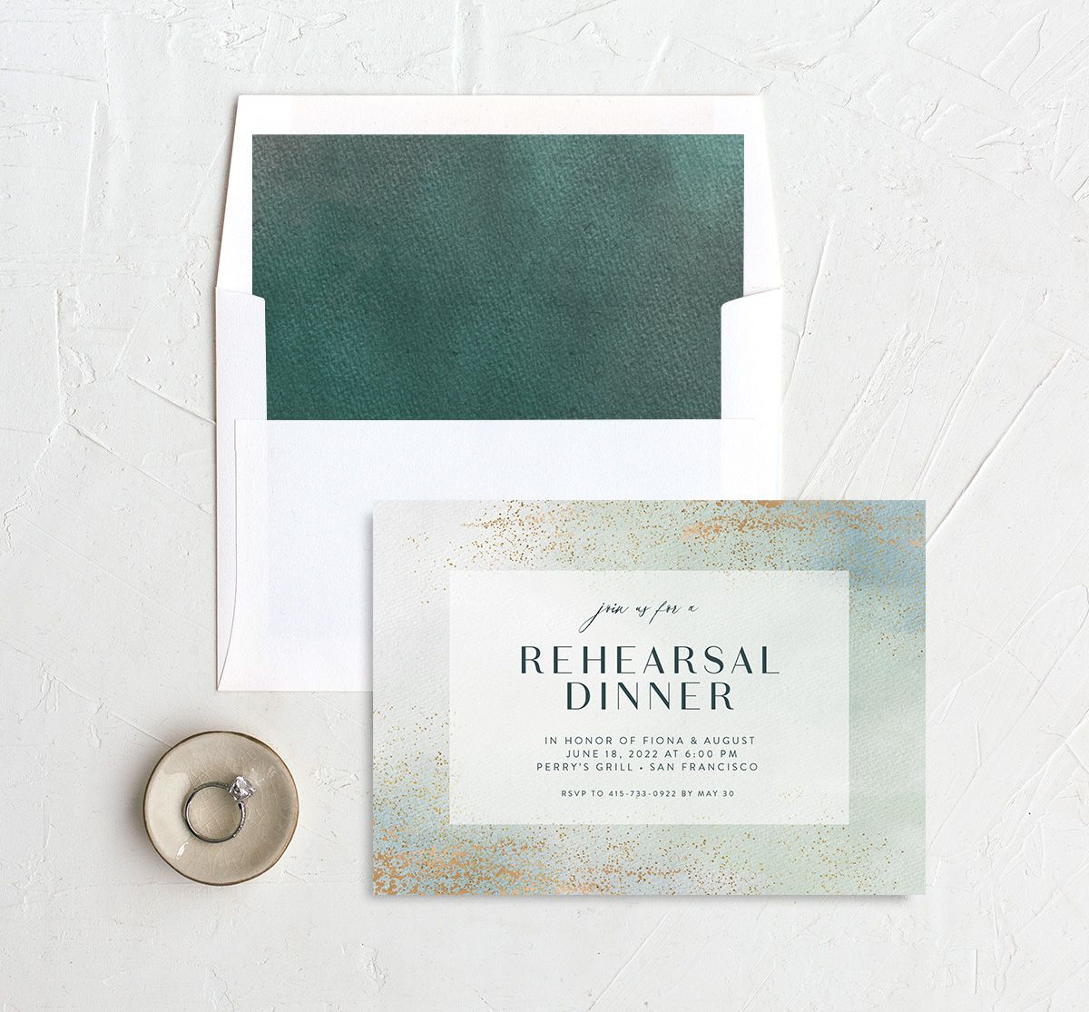 Awash rehearsal dinner invitation with liner green