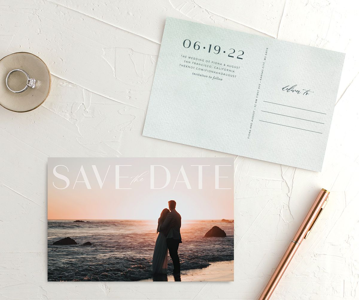 Awash save the date postcard green